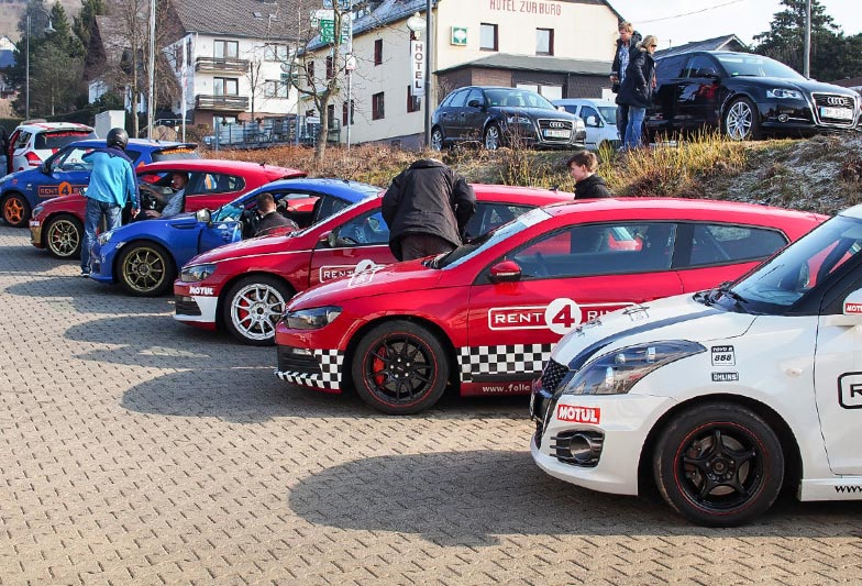 Rent4Ring cars lined up, waiting for their drivers. Photo by Meaghan O'Brien.