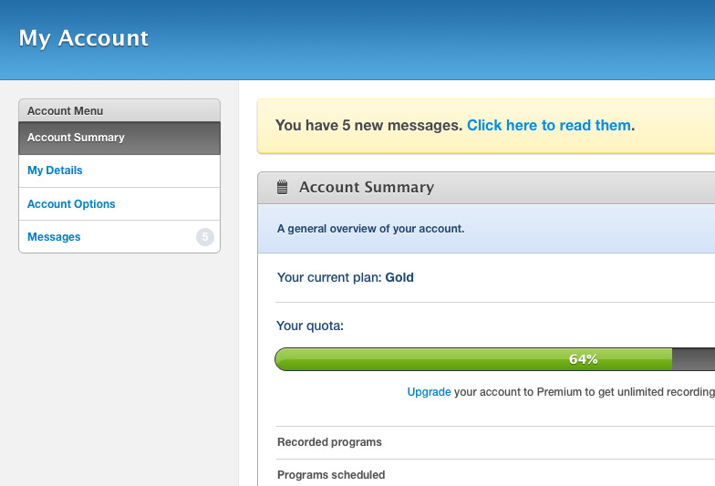 Managing account settings via the Account page. Plan and quota information is available at a glance.