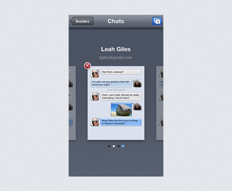 Final design of switcher zoomed out of conversations into a page view of current and recent conversations.