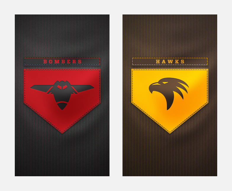 Bombers and Hawks splash screens
