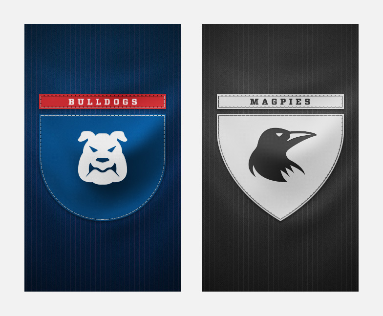 Bulldogs and Magpies splash screens