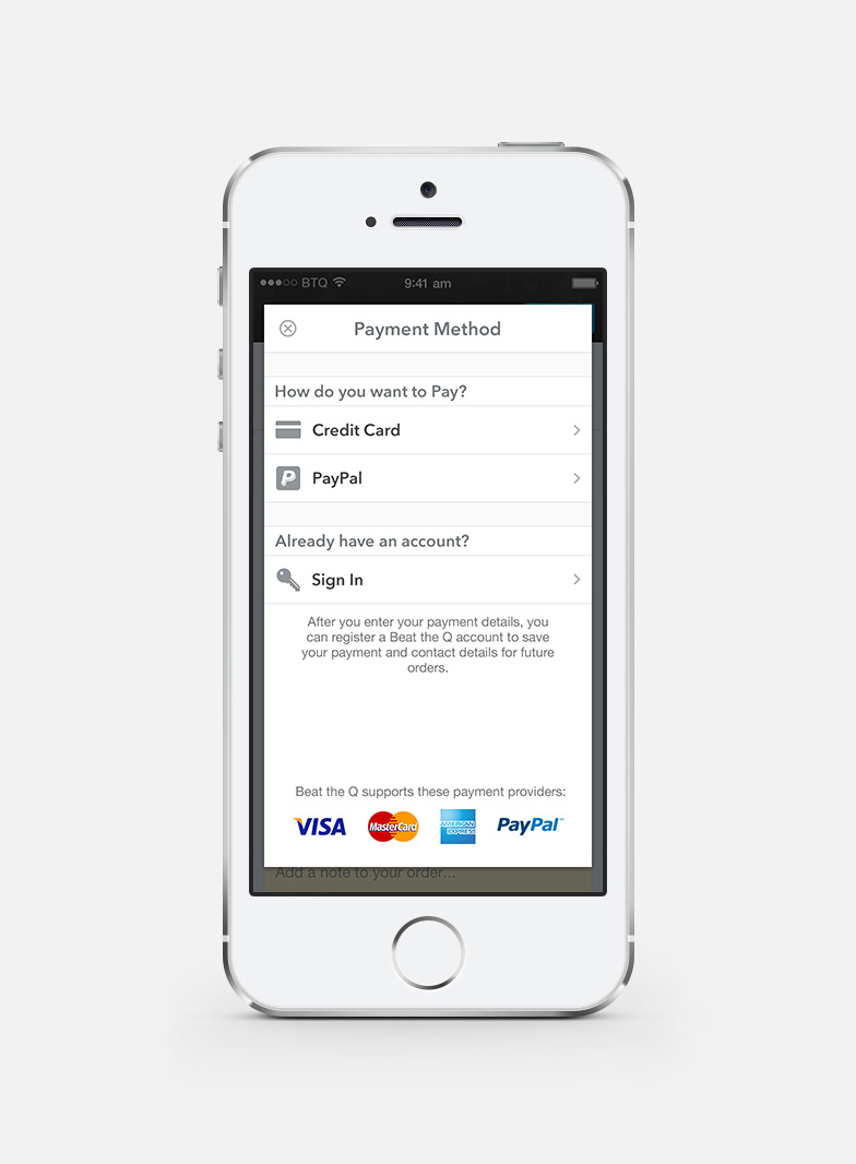 If a new user tries to place an order without providing payment details, a dialog will appear with contextual content.