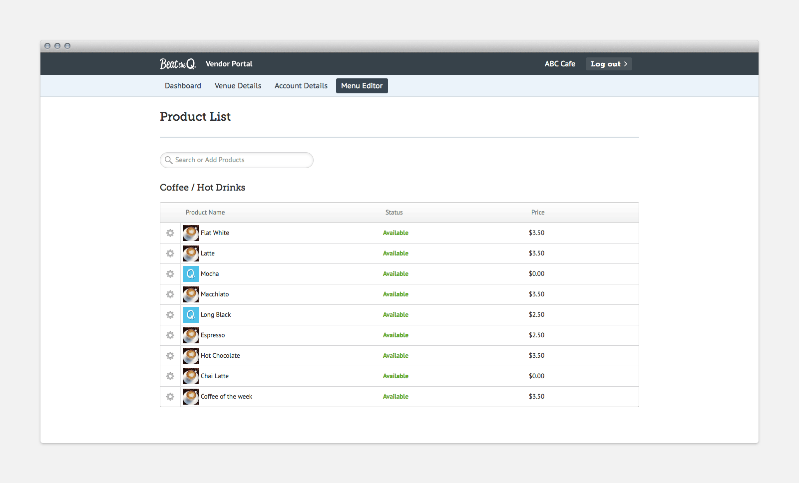 Vendor portal product list.